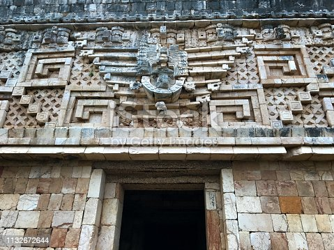 Uxmal, Yucatan, Mexico:  Close-up of the decorative frieze on the Governor's Palace. Uxmal is a Mayan ruin and UNESCO World Heritage site 60 kilometers south of Merida.