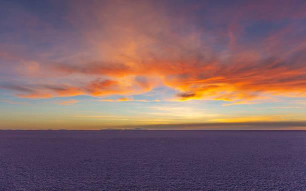 Uyuni Salt Flat Sunset, Bolivia stock photo