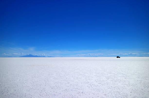 Uyuni salt flats or Salar de Uyuni, the world's largest Salt Flats, UNESCO World Heritage site in Bolivia, South America stock photo