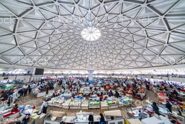 Uzbekistan Tashkent Crowded Chorsu Bazaar Stock Photo - Download Image Now