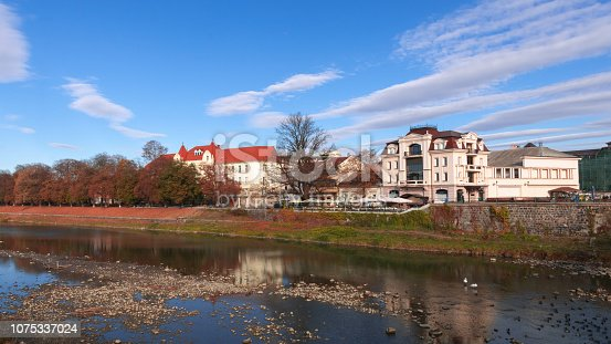 istock Uzhgorod panorama of the European city, river and embankment 1075337024