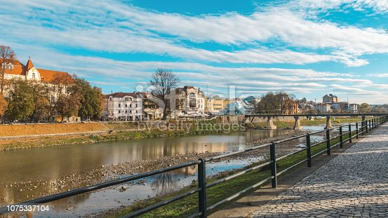 istock Uzhgorod panorama of the European city, river and embankment 1075337104