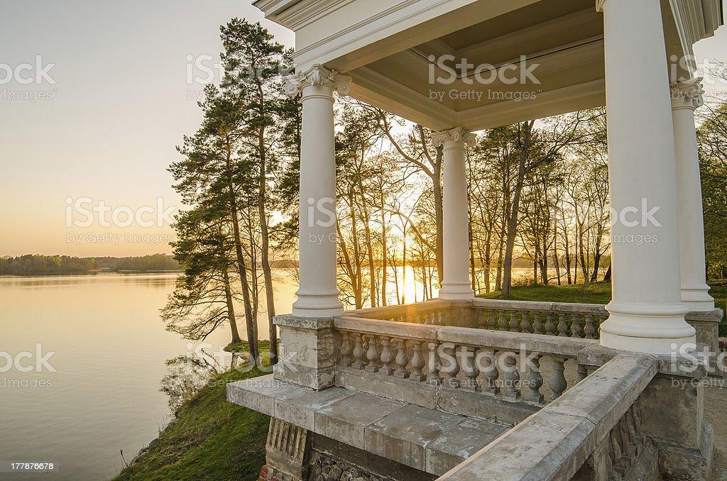 Uzutrakis Palace in Trakai, Lithuania. stock photo