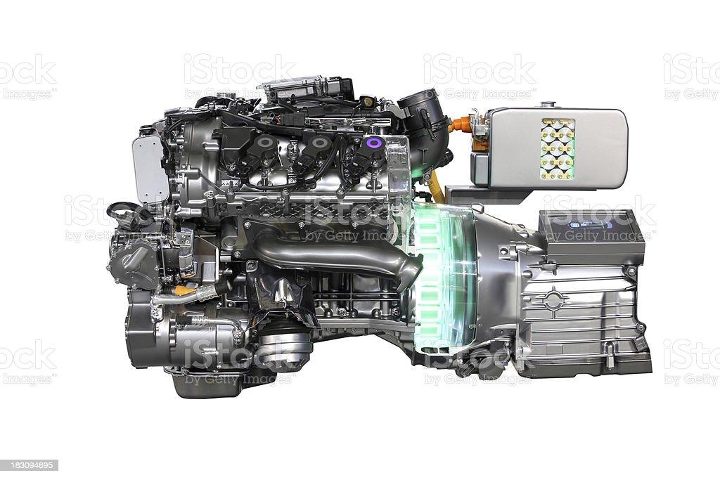 v6 car hybrid engine isolated stock photo
