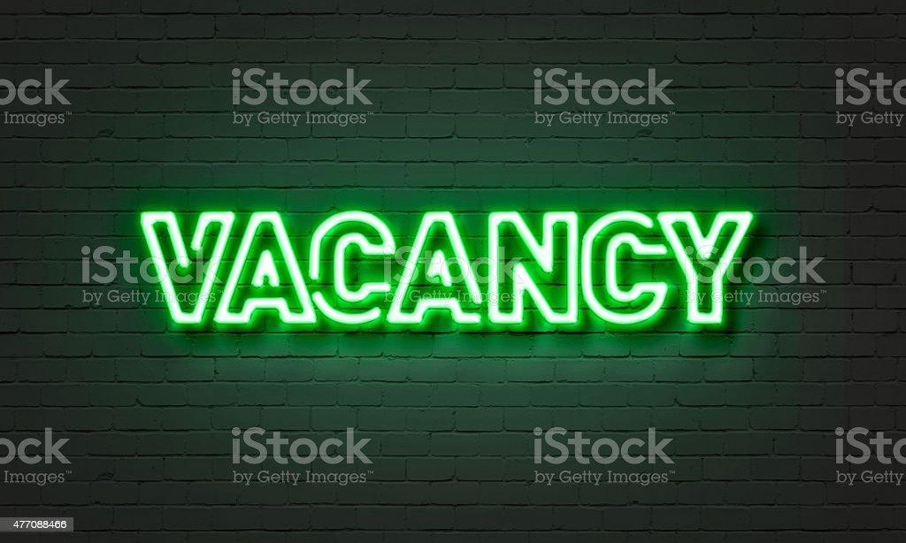 Vacancy neon sign stock photo
