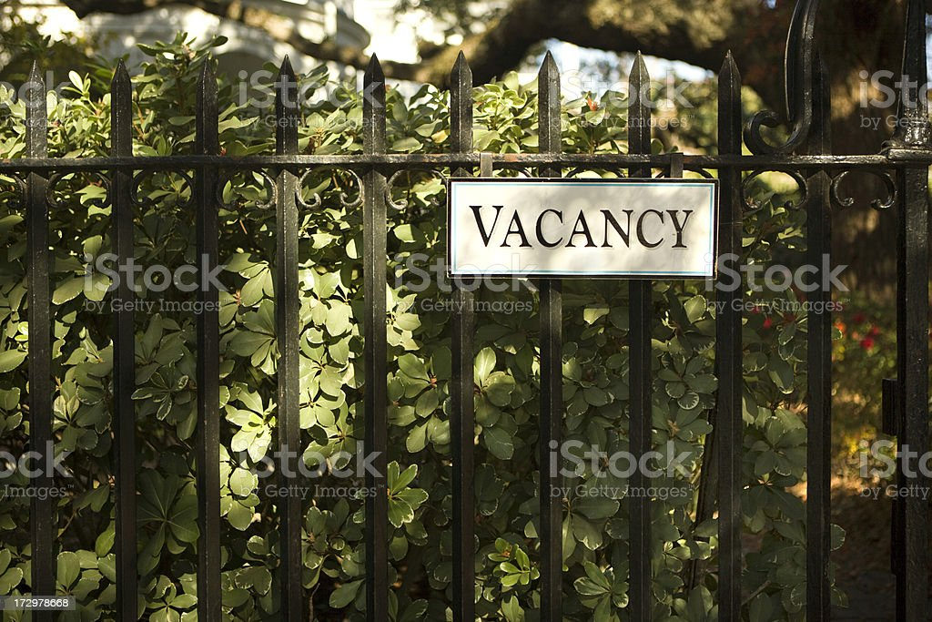Vacancy sign at a bed and breakfast royalty-free stock photo