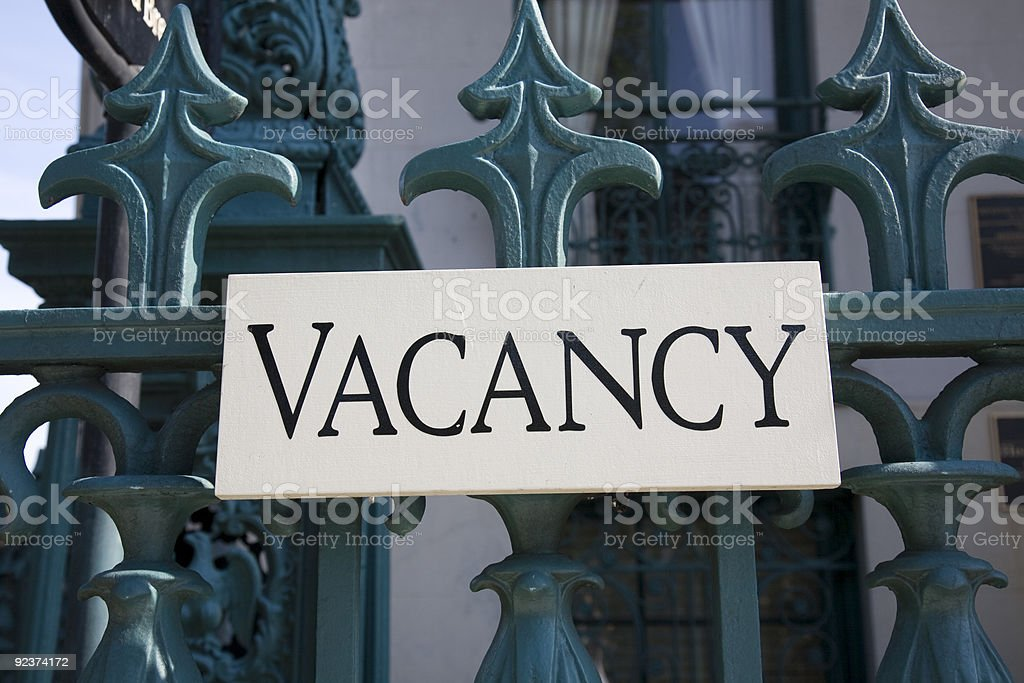 Vacancy sign at a bed & breakfast stock photo