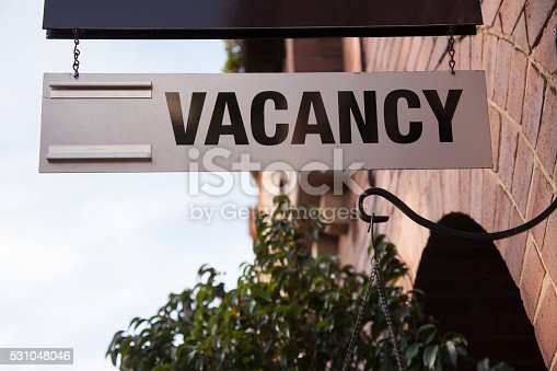 Close up of a vacancy sign at a hotel