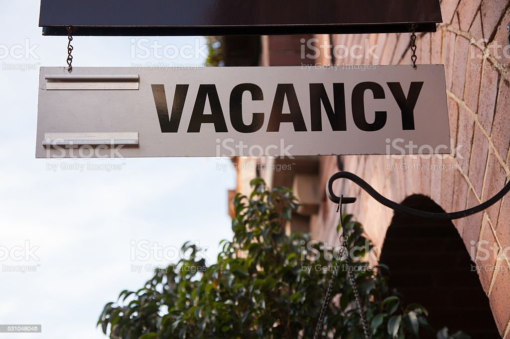 Vacancy Sign at a Hotel stock photo