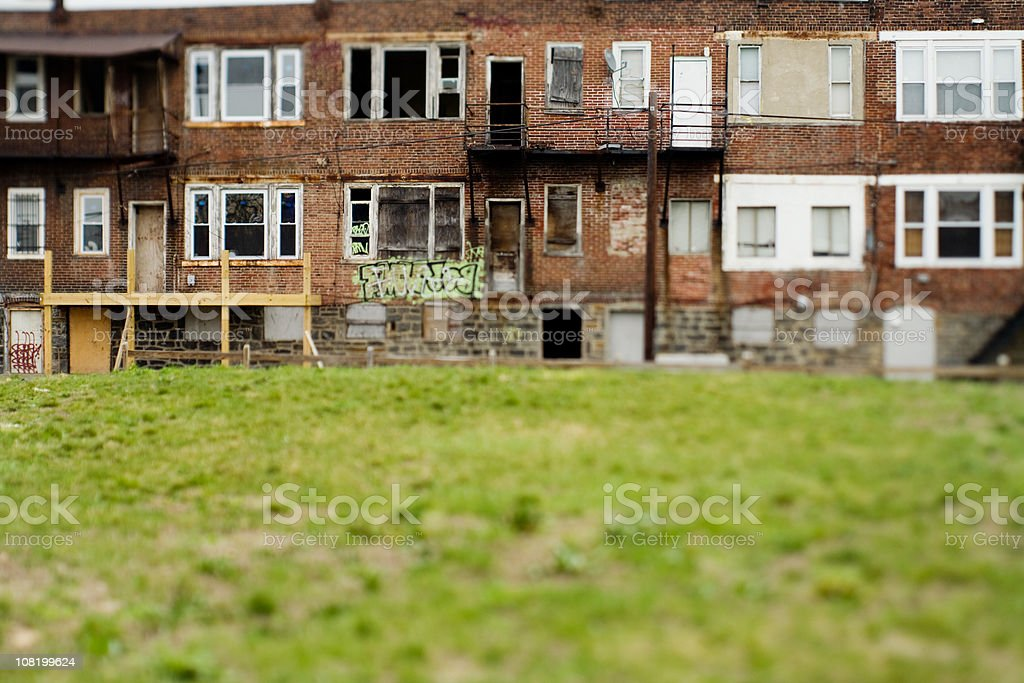 Vacant and run down row homes in a Philadelphia neighborhood stock photo