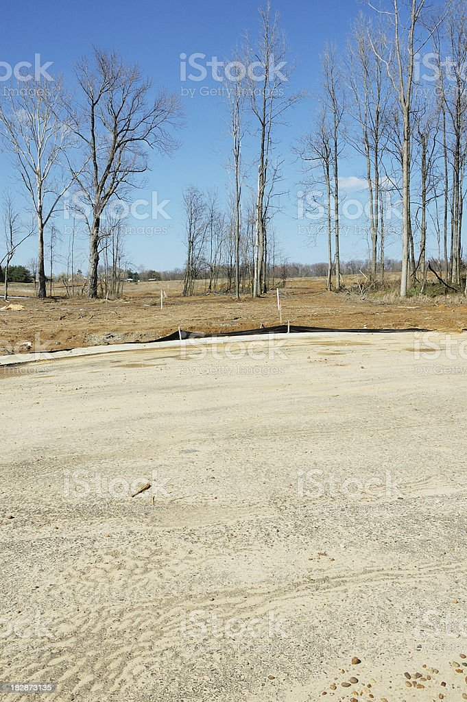 Vacant Lot in Housing Subdivision Ready for New Home Construction stock photo