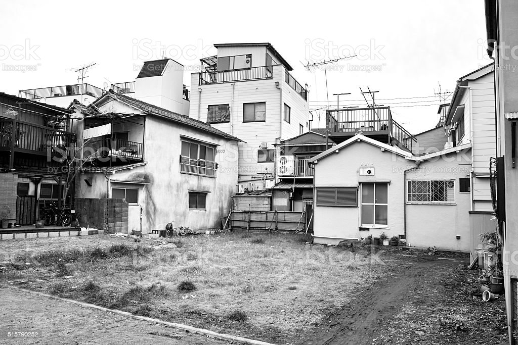 Vacant lot of the old residential area of Japan stock photo