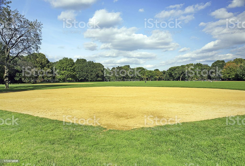 Vacant softball field on a cloudy day in Central Park royalty-free stock photo