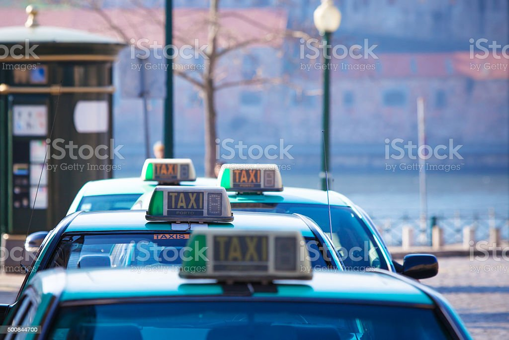 Vacant taxi parking, Porto, Portugal stock photo