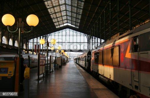 Paris. Evening sun in Gare du Nord railway station.