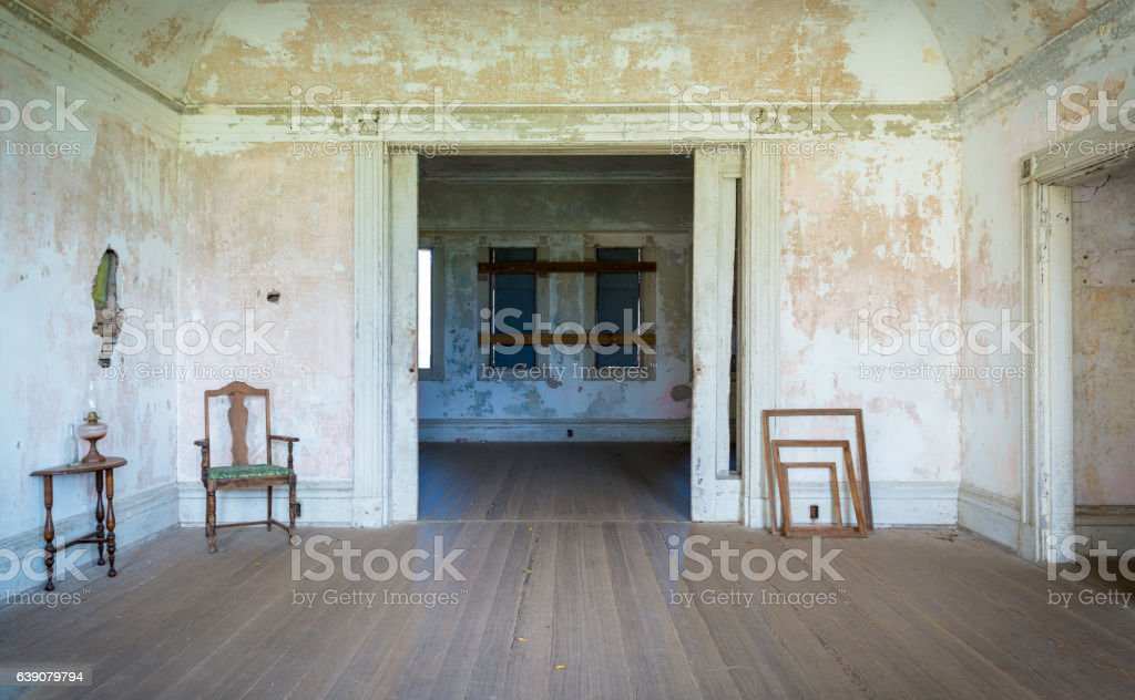 Vacant vintage house from war era stock photo