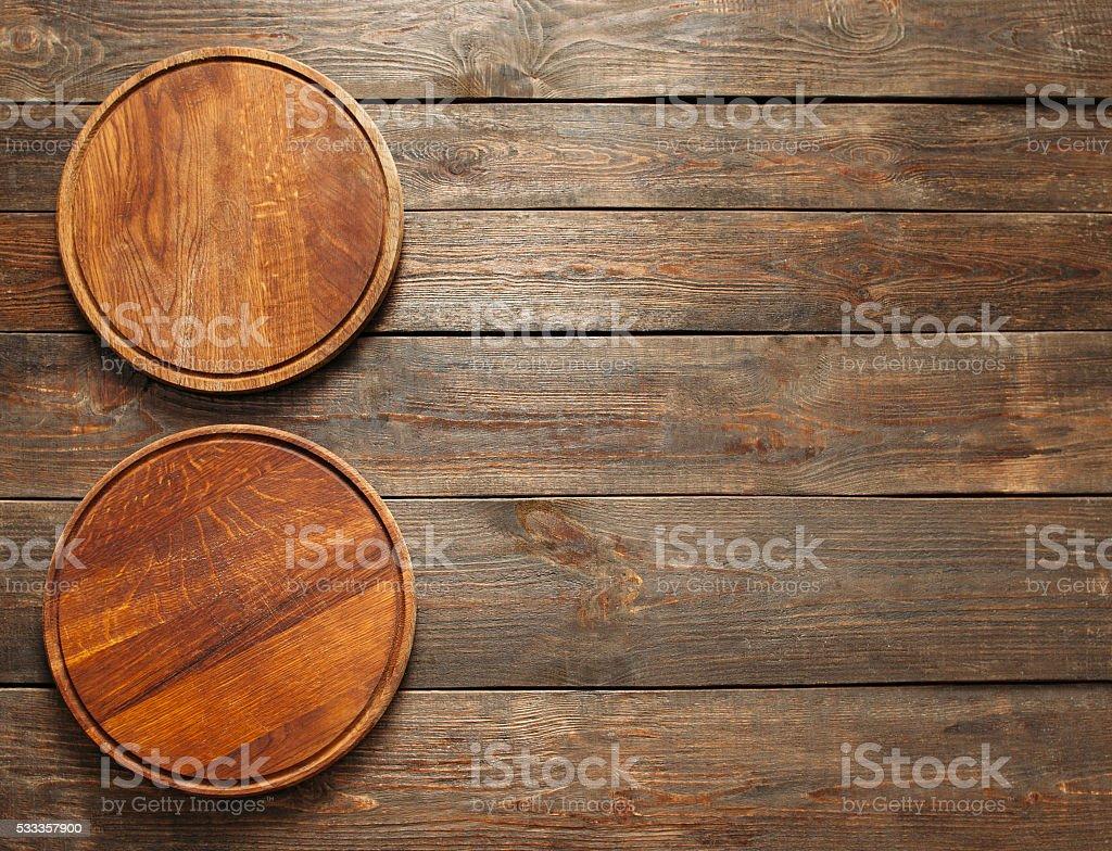 Vacante de madera vertical de pizza placas de espacio libre - foto de stock