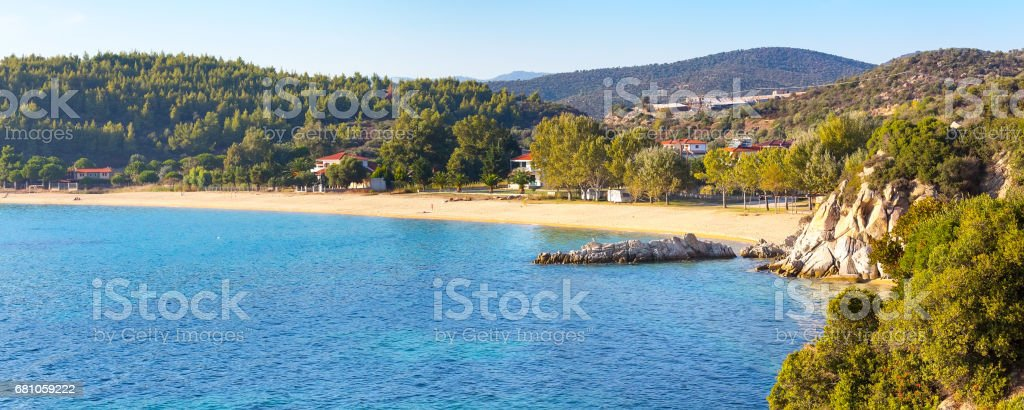 Vacation background with sea water and sandy beach aerial view royalty-free stock photo