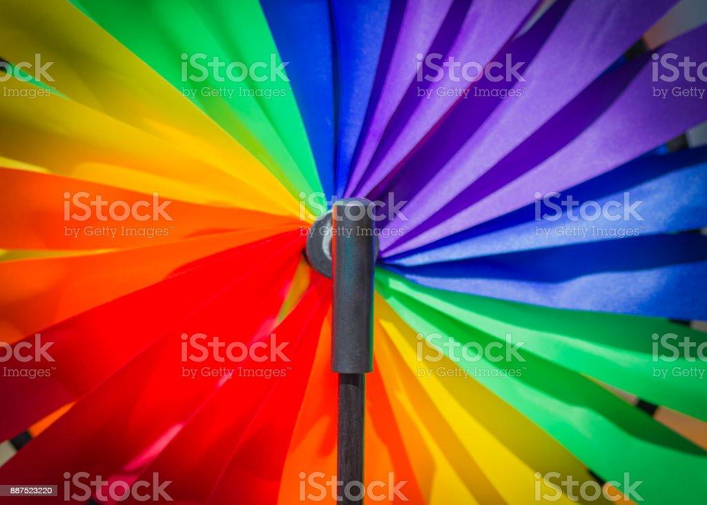 Vacation concept. Bright windmill stock photo