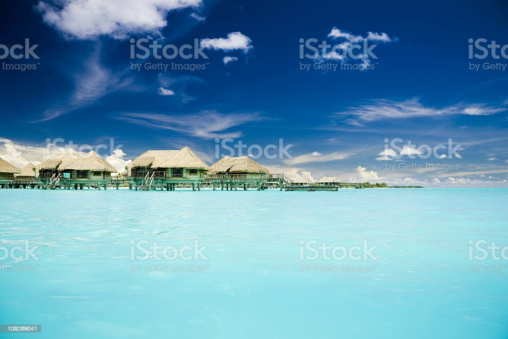 Vacation Cottages on Caribbean Ocean royalty-free stock photo