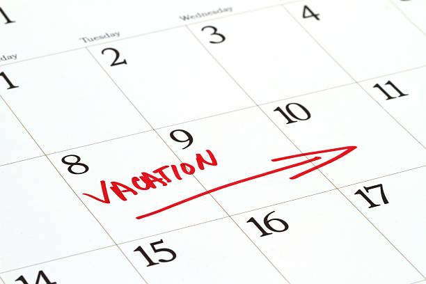 Vacation dates on calendar stock photo