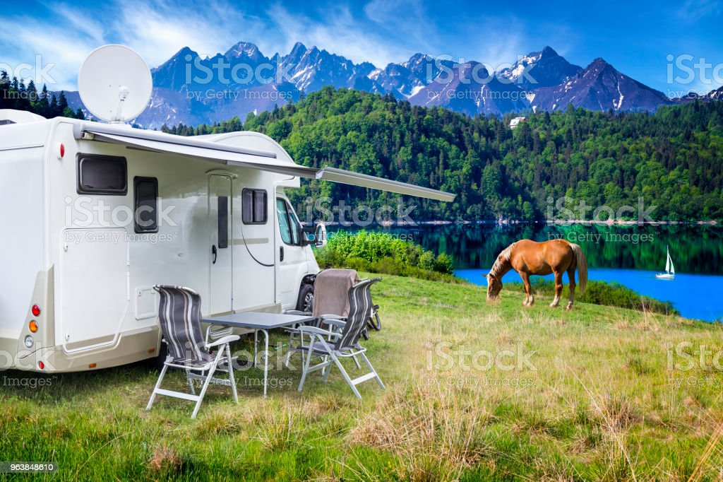 Vacation in Poland - camper by the Czorsztyn lake and Tatra Mountains landscape - Royalty-free Beauty In Nature Stock Photo