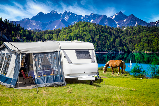 Vacation In Poland Camper Trailer By The Czorsztyn Lake And Tatra Mountains Landscape Stock Photo - Download Image Now