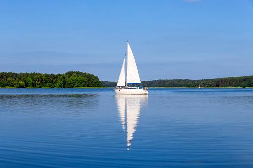 Vacation in Poland - sailboat on the Niegocin lake, Masuria