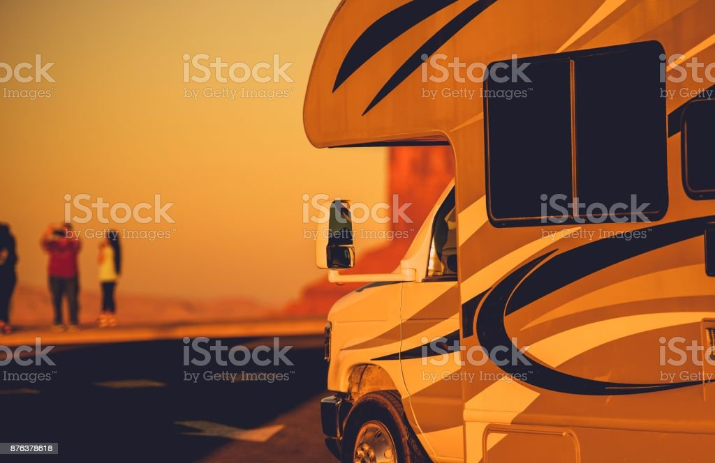 Vacation in RV Motorhome stock photo