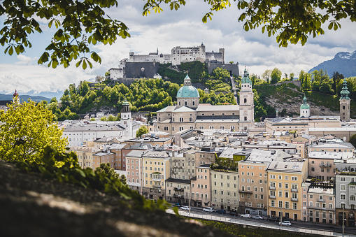 Salzburg historic district in spring, green leaves and sunshine, Austria