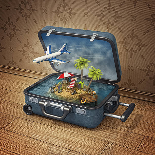 vacation island in suitcase - desert island stock photos and pictures