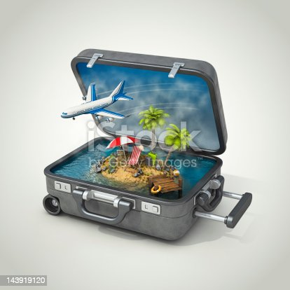 Small island with travel stuff in open suitcase.