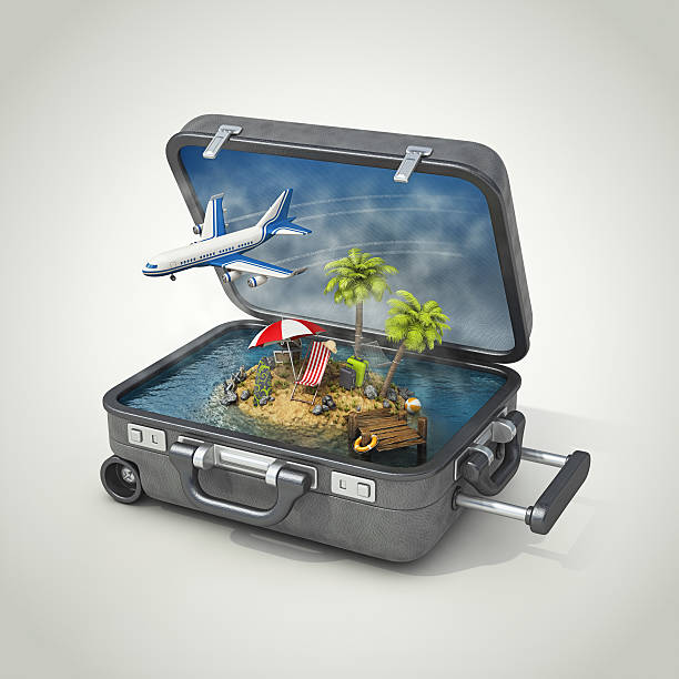 vacation island in suitcase - illustrations stock photos and pictures