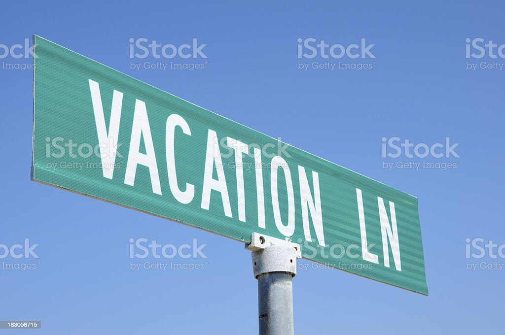 Vacation lane sign stock photo