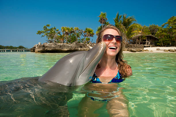 Urlaubsgefühl-Dolphin die Wange Küssen Frau – Foto