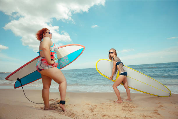 vacation - funny fat lady stock photos and pictures