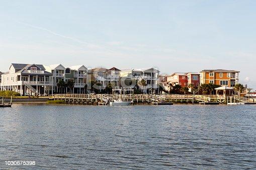 Luxury beach houses on the intercoastal waterway, Sunset Beach, North Carolina