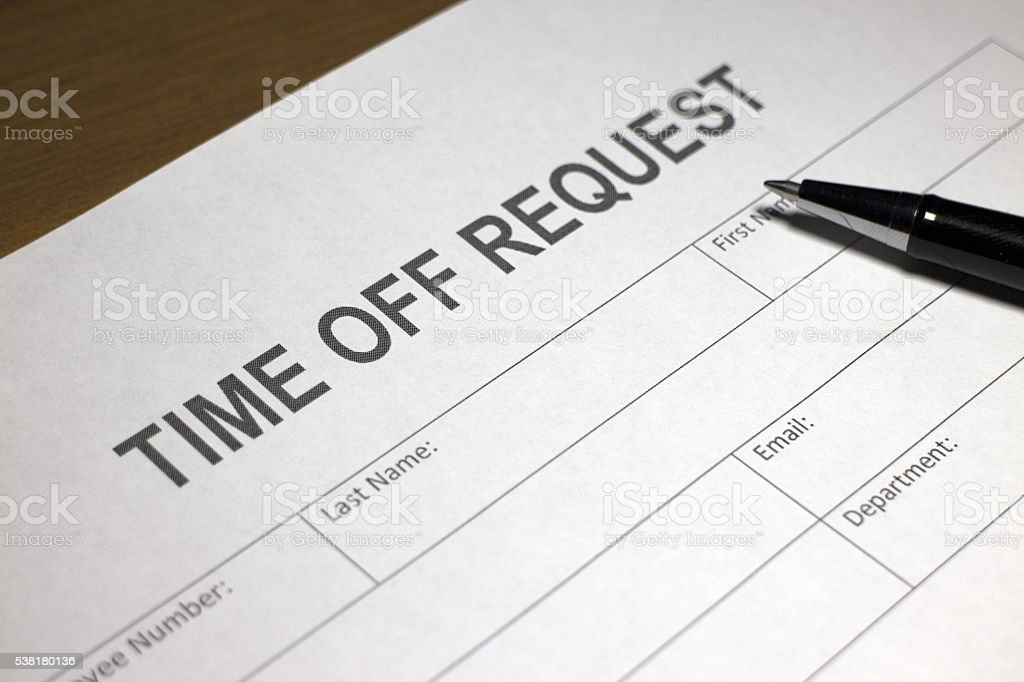 Vacation Request Form stock photo