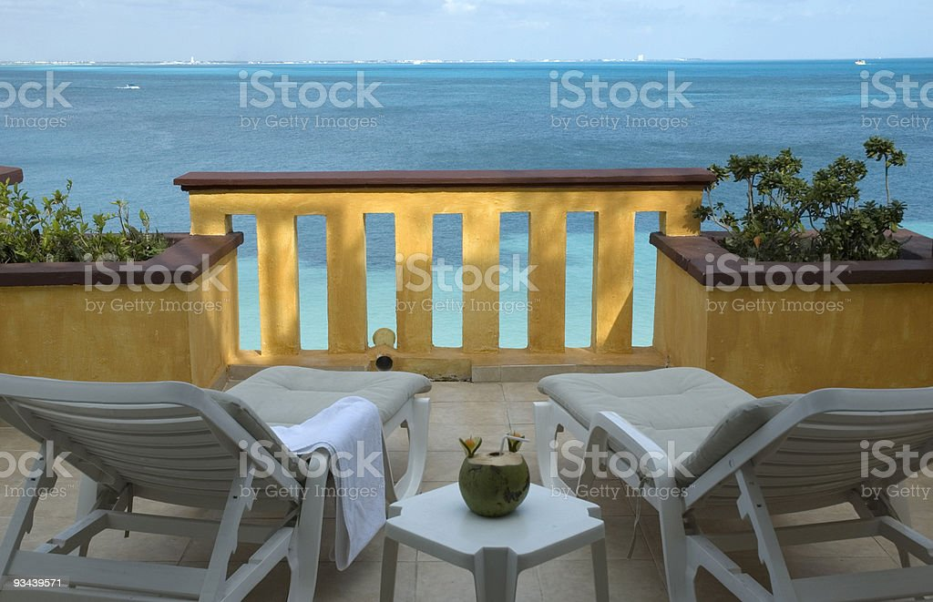 Vacation Resort Balcony with a View stock photo