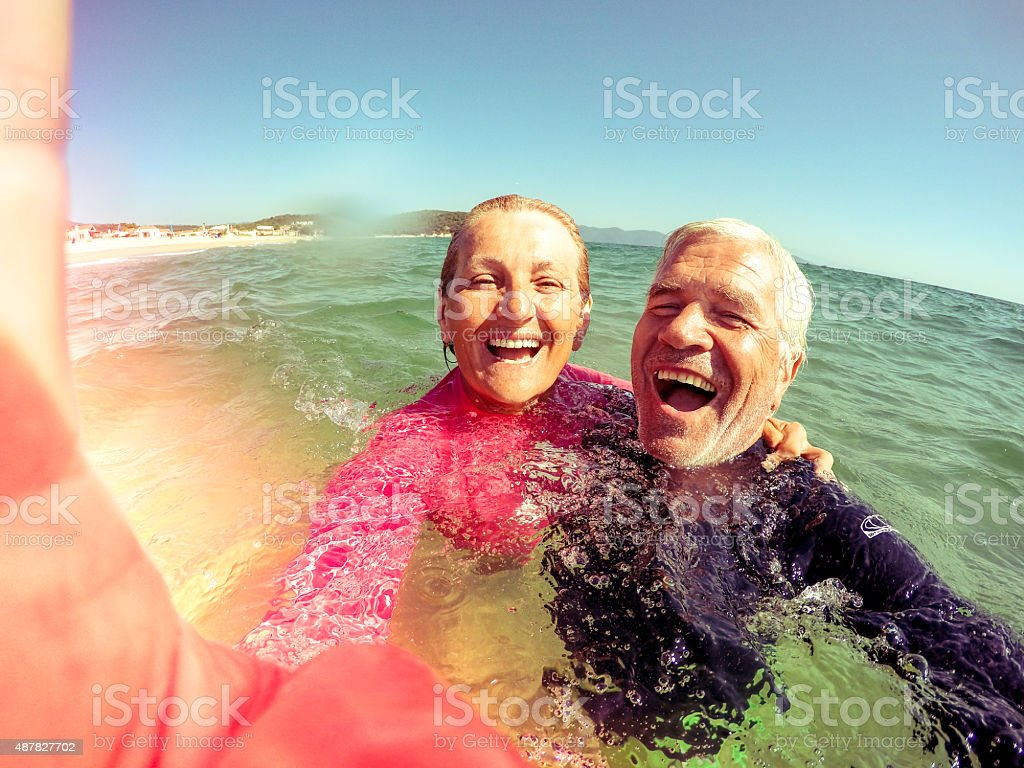 Vacation selfie of a senior couple stock photo