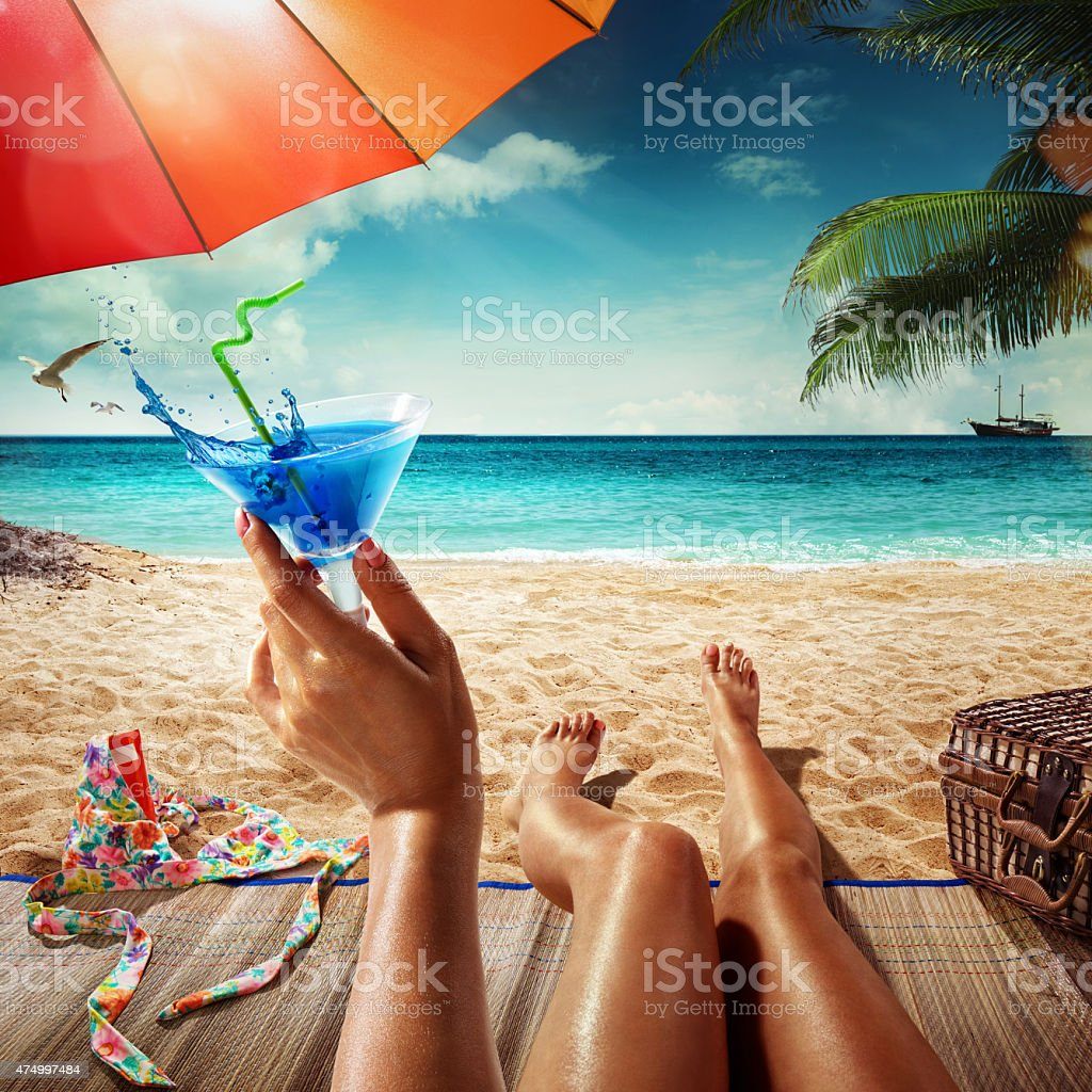 Vacation. Summer beach. Concept for rest. Close view stock photo