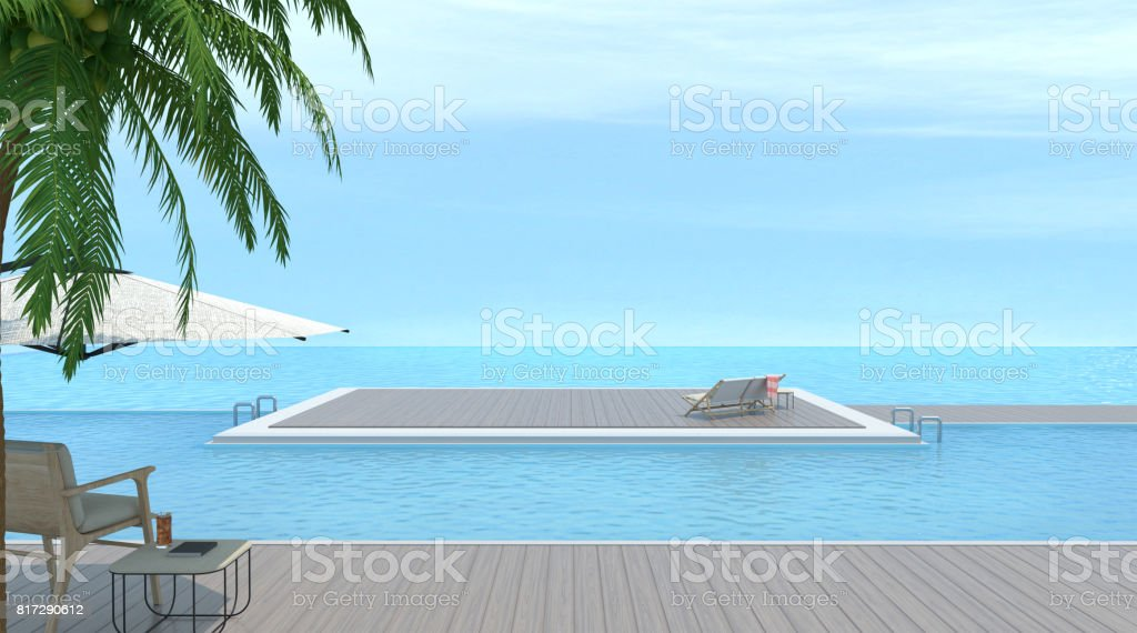 Vacation time and wood chair with swimming pool and sea 3d rendering with Sunbathing deck on sea in luxury villa area. stock photo