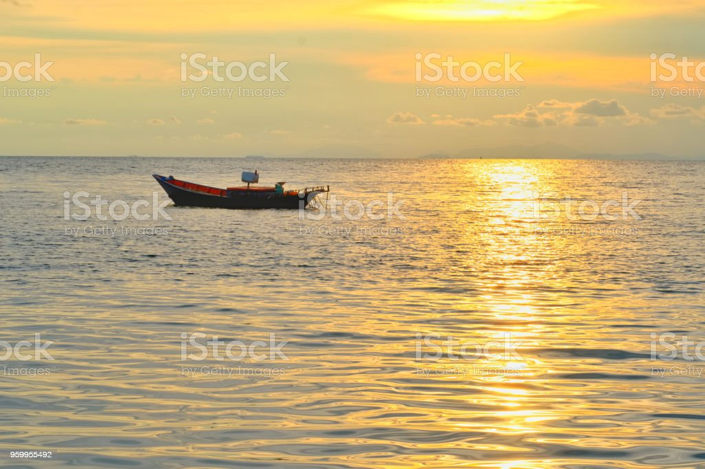 Vacation time concept, A boat going and parking in the sea with...