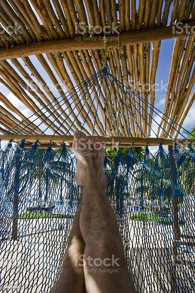 Vacation view from my hammock on a tropical beach royalty-free stock photo
