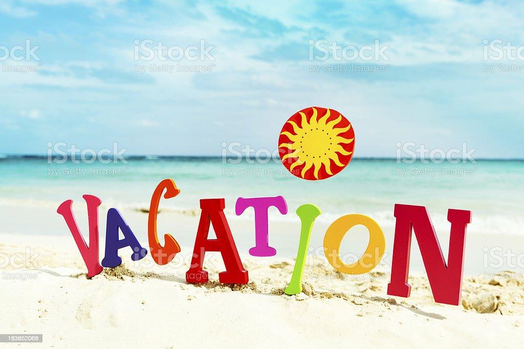 Vacation Word Sign On Beach Of Caribbean Sea Hz Stock ...