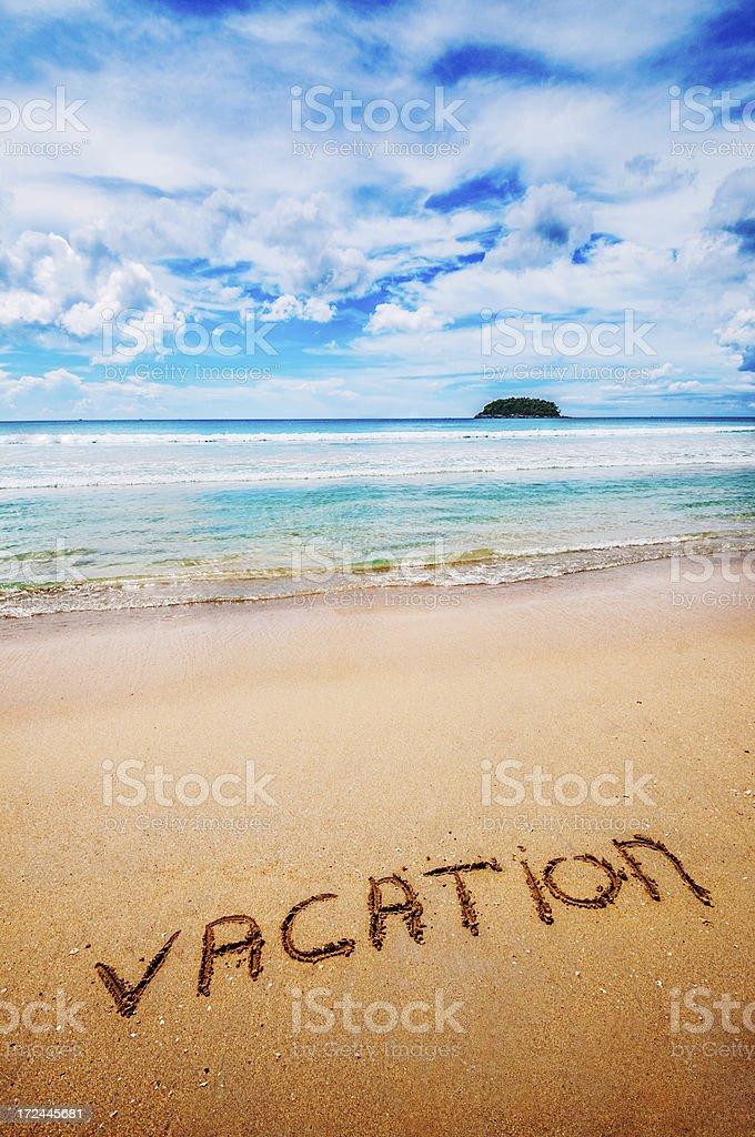 Vacation Written on the Sand stock photo