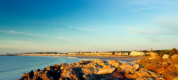 vacationers' atlantic coastal homes panorama - mike cherim stock pictures, royalty-free photos & images
