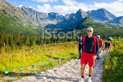 1130859000 istock photo Vacations in Poland - Group of tourists on a trip to the Tatra Mountains 1162520899