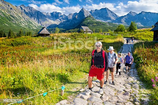 1130859000 istock photo Vacations in Poland - Group of tourists on a trip to the Tatra Mountains 1162525775
