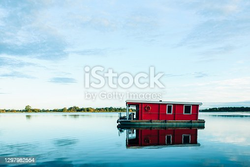 Houseboat on lake in Germany, Summer vacations